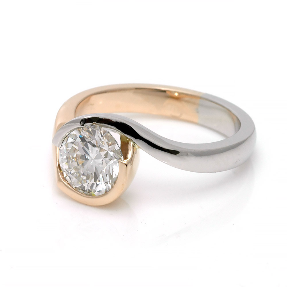 Platinum and 18ct Rose gold 2ct diamond ring