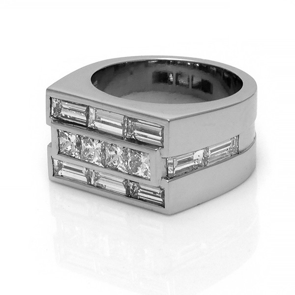Platinum Diamond set gents ring